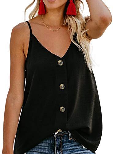 - Women's Summer Cool Sleeveless Cami Tank Tops Button Down V Neck Strappy Loose Shirt Blouse Fashion 2019 Balck M Black