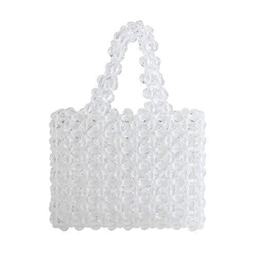 Women Beaded Bag Transparent Acrylic Tote Bags Handmade Weave Crystal Pearl Bags for wedding party (transparent)
