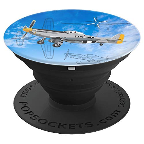P-51 Mustang WWII Fighter Airplane - PopSockets Grip and Stand for Phones and Tablets - Mustang Ww2 Fighter