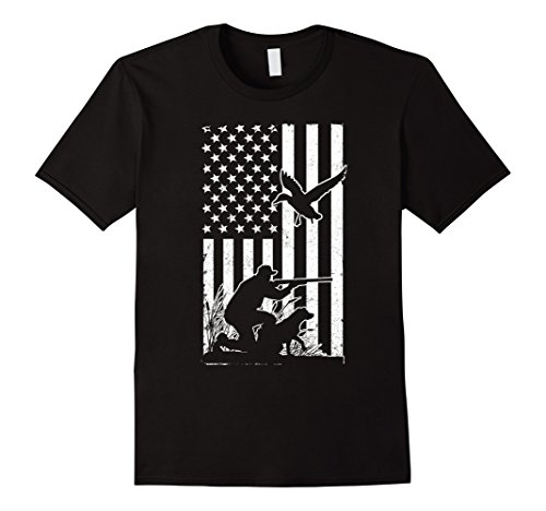 Mens Duck Hunting USA Flag T Shirt - Waterfowl Geese Game Hunter Large Black Duck Hunting T-shirt