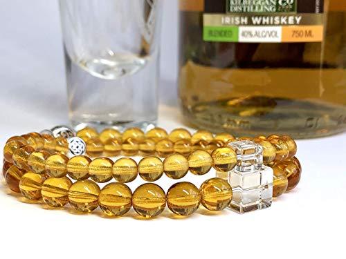 (Irish Whiskey Lover Bracelet in 2 Styles - Couples' Celtic Knot Scotch Bracelet - CUSTOM SIZED Quartz and Glass Bracelet)