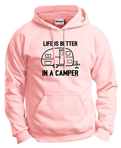 Price comparison product image Camper Accessories Teardrop Campers Life is Better in a Camper Camping RV RVing Hoodie Sweatshirt Large LtPnk