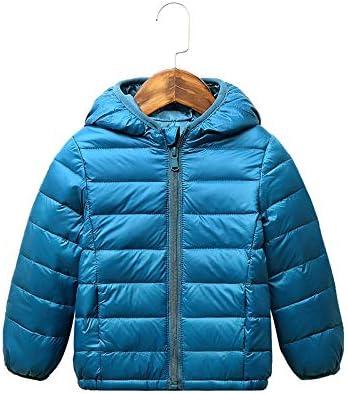 ATHEMEET Baby Boys Girls Winter Coats Hoods Light Puffer Down Jacket Outwear Dark Blue