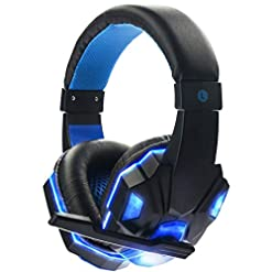 XuBa 3.5mm Earphone Gaming Headset Gamer Stereo Gaming Headphone with Microphone LED Black and blue