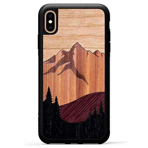 (Carved - iPhone Xs Max - Luxury Protective Traveler Case - Unique Real Wooden Phone Cover - Rubber Bumper - Mount Bierstadt)