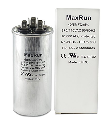 MAXRUN 40+5 MFD uf 370 or 440 Volt VAC Round Motor Dual Run Capacitor for AC Air Conditioner Condenser - 40/5 uf MFD 440V Straight Cool or Heat Pump - Will Run AC Motor and Fan - 1 Year Warranty Mfd 440v Run Capacitor