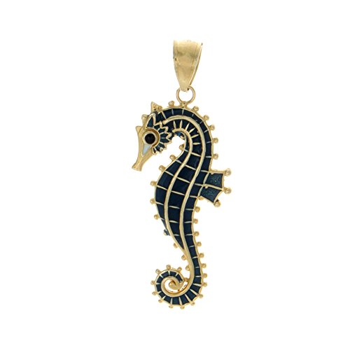 14k Yellow Gold Nautical Charm Pendant, Medium 3D Seahorse with Blue (Gold 3d Horse Charm)