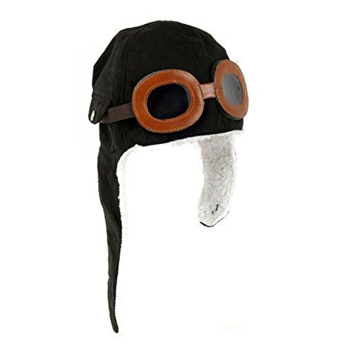 [Wowlife Cool Pilot Aviator Fleece Hat Cap with Earmuffs Baby Toddler Protect (Black)] (Adult Aviator Hat)