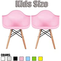 2xhome - Set of Two (2) - Pink - Kids Size Eames Armchairs Eames Chairs Pink Seat Natural Wood Wooden Legs Eiffel Childrens Room Chairs Molded Plastic Seat Dowel Leg