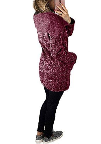 Manteaux À Hoodie Capuche Sweatshirt Tomwell Sport Hiver Fermeture Long Outwear Pullover Manteau Taille Veste Éclair Violet Femme Grande Casual nRwwCxYdqf
