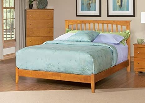 Atlantic Furniture Brooklyn Platform Bed with Open Footrail in Natural  Maple Size: Full