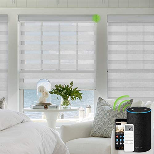 Yoolax Motorized Zebra Shades Free-Stop Cordless Zebra Blinds Rechargeable Dual Layer Sheer with Cassette Valance Window Blinds Luxury Grey