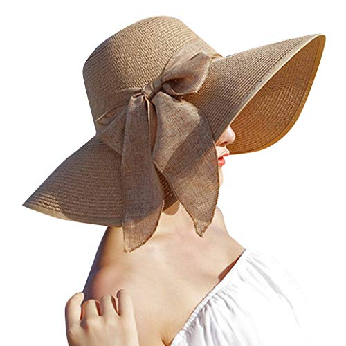 Benficial Fashion Womens Wide Brim Bow Straw Hat Floppy Foldable Roll up Cap Beach Sun Hat Khaki ()