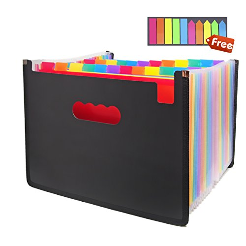 Expanding Files Folder 24 Pockets, Expandable Accordion File Folder Box, Large Plastic Rainbow A4 Portable File Organizer High Capacity Multicolour Stand Office Plastic Business Filing Box (Multi)
