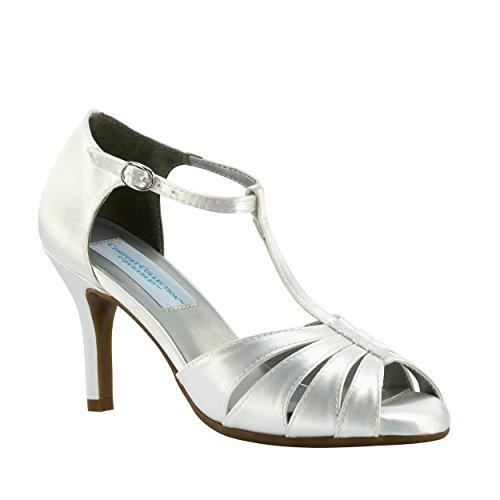 XINJING-S Satén blanco Mujer Bridesmaid Prom Correa T Nupcial Sandalia Tacón zapato Amplia
