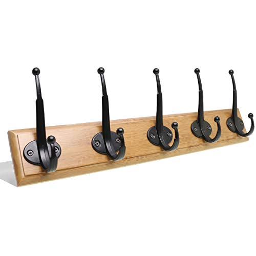 Pro Finish Wood Baseball Bat - SZAT PRO Coat Rack with 5 Black Hooks Wall Mounted Wooden Rack Rail for Kids Coats Hats Handbags