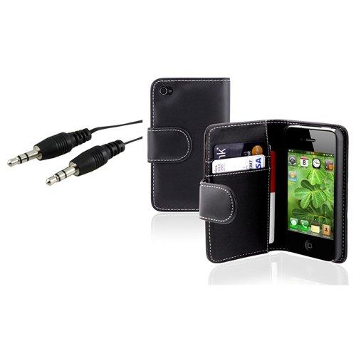 Schwarz Beutel Leder Beutel Case Tasche+Audio Kabel Für IPHONE 4 4G 4 4S