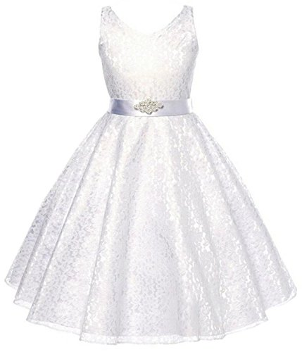 Betusline Girls' Lace Dressy Dress with Belt (3-12 Years) White
