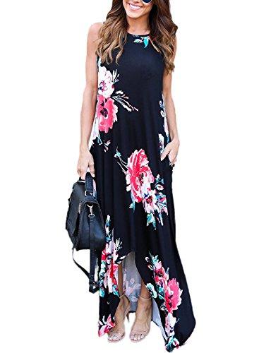 Dokotoo Womens Summer Casual Amazon Floral Boho Sleeveless Dress Maxi Long Dresses Loose Sundresses Juniors Black Medium