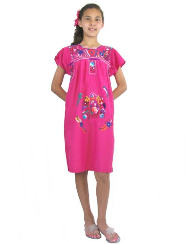 Child Embroidered Dress - Leos Mexican Imports Girls Mexican Puebla Dress (Girls 4, Hot Pink)