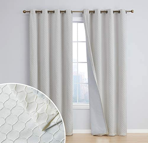 HLC.ME Siena Decorative 100 Blackout Thermal Insulated Full Shading Long Window Curtain Grommet Panels for Dining Room Bedroom – Energy Savings Soundproof, Set of 2 50 x 108 inch Long, Ivory