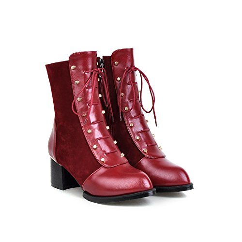 Mostrin Fashion Women's Studded Lace Up Martin Boots Sexy Pointed-toe Low Heel Ankle Boots with Zipper