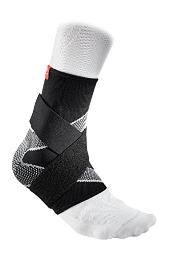 McDavid 4 Way Elastic Ankle Sleeve with Figure 8 Straps, Medium, Black