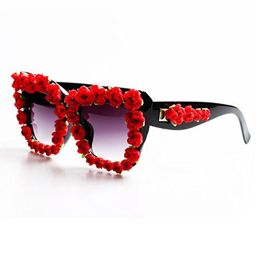 las sol de TL Flor mujer para playa gafas gafas rojo roja Estilo de verano damas de Gafas Barroco Sunglasses lujo red rnvtnO