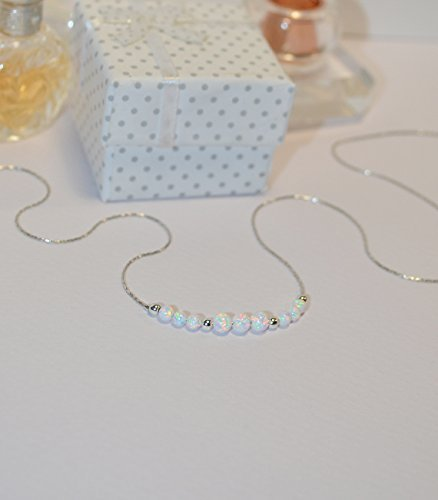 OPAL NECKLACE // Opal Ball Necklace - Opal Jewelry - White Opal Necklace Silver - Dot Necklace - Opal Bead Necklace - Opal Charm Necklace