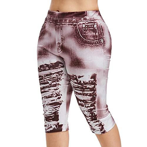 UOFOCO Fashion High Waist Yoga Pants Women Plus Size 3D Ripped Jean Print Legging Wine