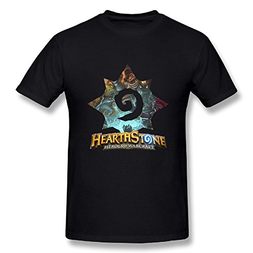 Gilles Men's Hearthstone Heroes of Warcraft Fashion T-Shirts Black