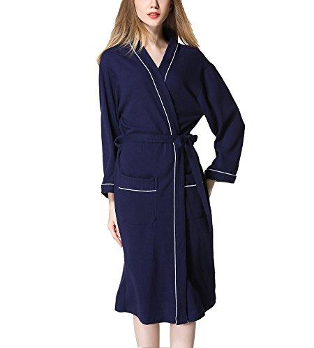 da cialda uomo donna da pigiama pigiama in Accappatoio Navy con da Blu cotone di notte e Asskyus nw0zgxBX