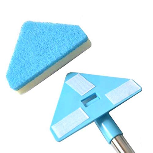 Aquarium Fish Tank Clean Set Retractable Aquarium Triangle Cleaning Brush with 180° freely changeable anti-slip handle Paste replacement sponge design Fish Tank Scrubber 23.6235.43in adjustable