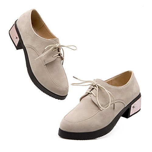 VogueZone009 Women's Imitated?Suede Solid Lace-up Round Closed Toe Low-Heels Pumps-Shoes Beige z6p6gZ