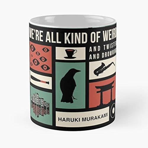 Murakami Haruki Literature Book Books Novel Love Lover Nerd Bookworm Worm Minimalist Best 11 oz Kaffee-Becher Tasse Kaffee Motive