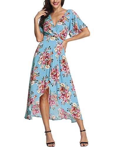 (Azalosie Wrap Maxi Dress Short Sleeve V Neck Floral Flowy Front Slit High Low Women Summer Beach Party Wedding Dress Blue)