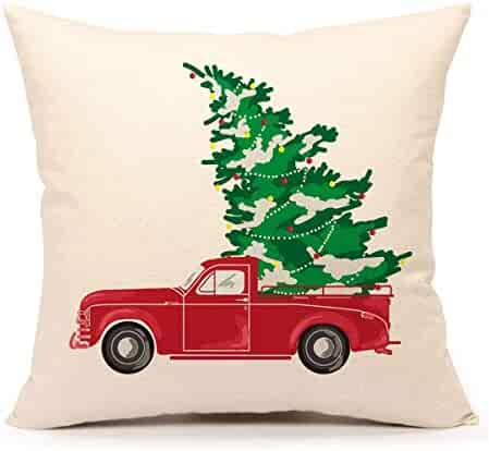 Touch Colourful 18 x 18 Inches Red Truck with Christmas Tree Vintage Home Decorations Throw Pillow Case Cushion Cover for Sofa