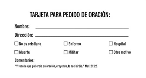 Prayer Request Card: Tarjeta Para Peticion de Oracion ...