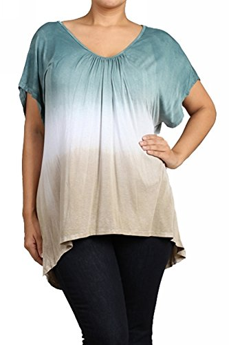 UrbanX Women's Plus Size Ombre Peasant Top 1X Green (Jersey Peasant Top Embroidered)