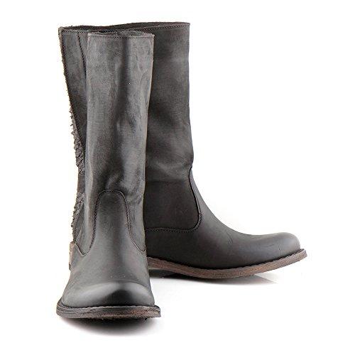 Felmini - Zapatos para Mujer - Enamorarse com Gredo 1011 - Botas Altas Cowboy & Biker - Cuero Genuino - Negro Negro