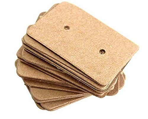 LASSUM 100 Pcs Kraft Paper Earring Display Cards Blank Ear Studs Jewelry Display Cards,1.37x 0.98