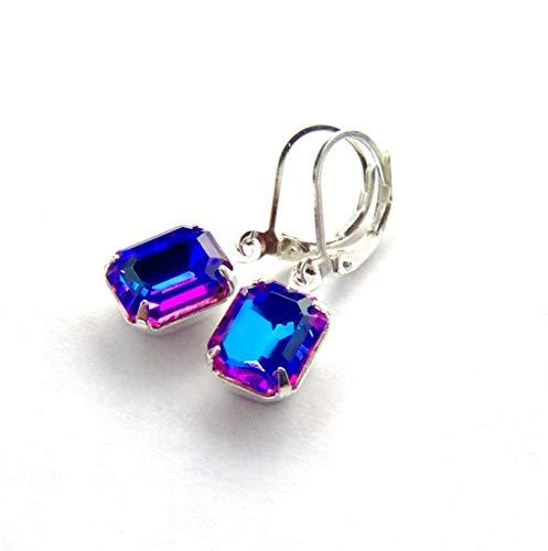 - Blue purple Rainbow Rhinestone Leverback Dangle Earrings