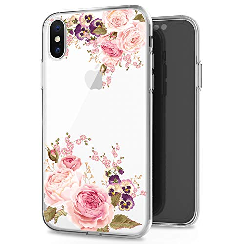 JAHOLAN Cute Girl Floral Design Clear TPU Soft Slim Flexible Silicone Cover Phone Case Compatible with iPhone X/iPhone Xs 5.8 inch - Rose Flower