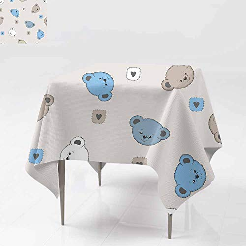 AFGG Spillproof Tablecloth,Seamless Pattern with Cute Teddy Bear,for Square and Round Tables 50x50 Inch ()