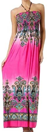 Sakkas Paisley1A-7931 Paisley Graphic Print Beaded Halter Smocked Bodice Maxi Dress - Pink / Medium