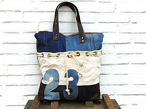 plus récent 323e1 b6c44 Cabas en jean, coton et cuir recyclé, sac cabs femme en ...