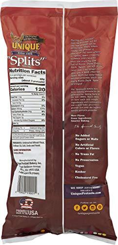 "Unique Pretzels - Extra Dark ""Splits"" Pretzels, Delicious Vegan Snack Pretzels Individual Packs, Large OU Kosher Pretzels, 11 Ounce Bags, Pack of 6"