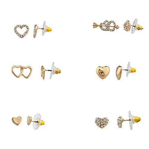 Lux Accessories Pave Crystal Valentine Heart Bow & Arrow Multiple Stud Earring Set