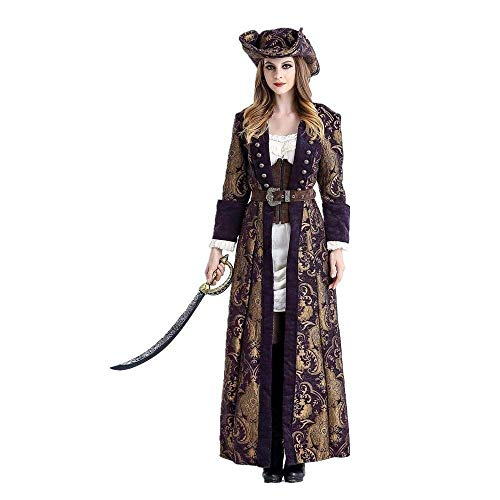 Fashion-Cos1 Women Pirate Costume Woman Female Halloween Fancy Party Dress Carnival Adult Pirate Cosplay Costumes (Size : M)]()