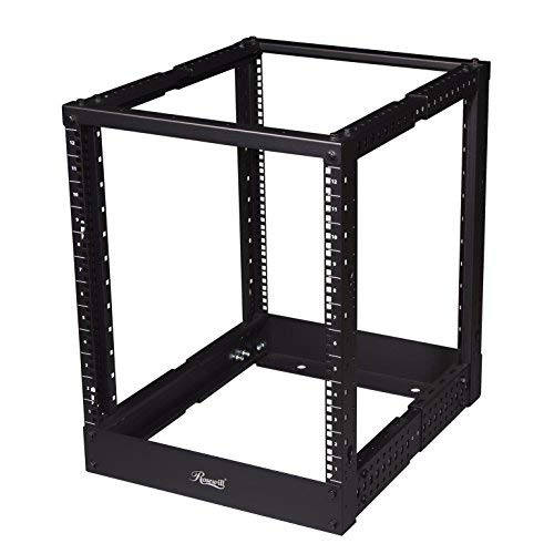 Rosewill Adjustable 12U Open Frame Server Rack with Hooks for Cable Management. Computer Rack, Mini Server Rack, Storage Network Rack Cabinet for Rackmount Server Case/Chassis - RSR-4P12U001 (Rack Computer Server)